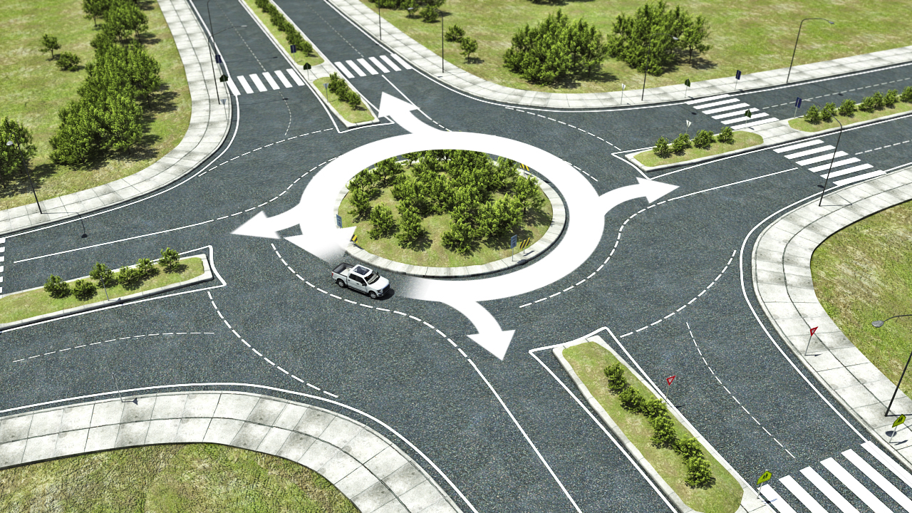 Roundabouts allow vehicles to travel through an intersection in a counter-clockwise circle.