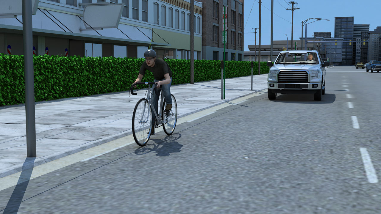 With cyclists, look for obstacles in the road that may require the cyclists to swerve.