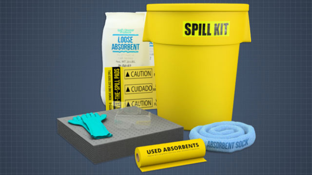 In order to deal with a spill, have a complete spill kit prepared and available in advance.