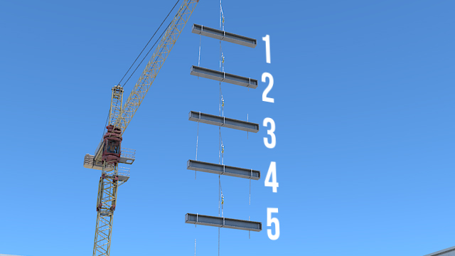 Multiple-lift rigging can be used to lift up to five pieces of steel at a time.