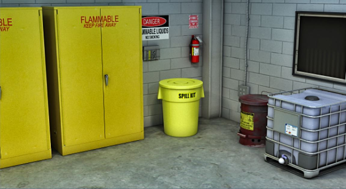 Store spill cleanup supplies near combustible storage, and clean up leaks and spills immediately.