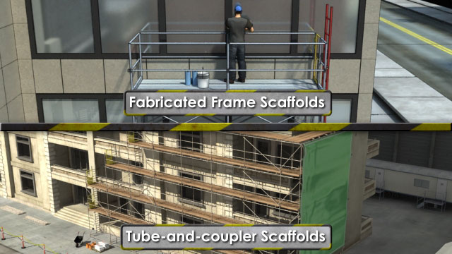 Fabricated frame scaffolds are modular and come pre-formed and connected.