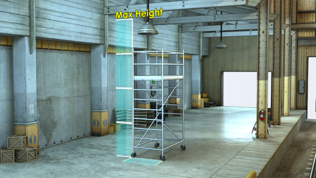 The maximum allowable height of a free-standing scaffold depends on the width of its base.