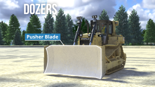 "Bulldozers, often referred to as ""dozers,"" are track-mounted vehicles equipped with a wide, vertical front-mounted pusher blade that can be raised and lowered during operation."