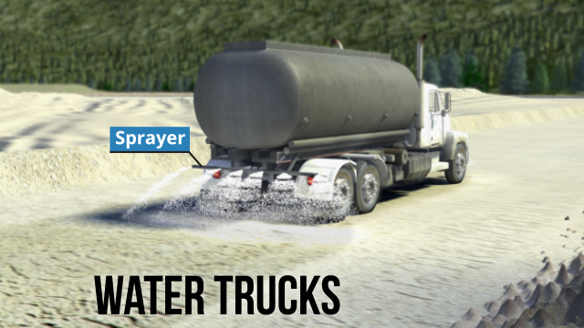 Water trucks are tanker trucks used to help suppress dust and other airborne particulate hazards by spraying water on haul roads, access roads, and common work areas.