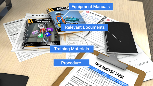 The first step of a task analysis is determining how a task should be performed. Review procedures, training materials, equipment manuals, or any other relevant documents.