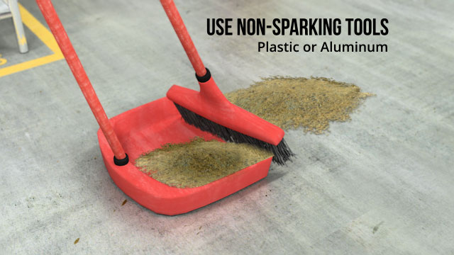 Use non-sparking tools during cleanup.