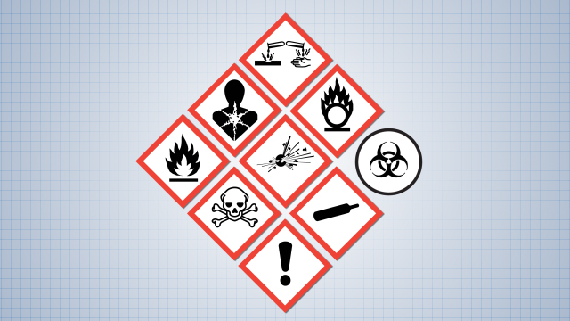 Hazard classes are represented by pictograms on hazardous material labels.