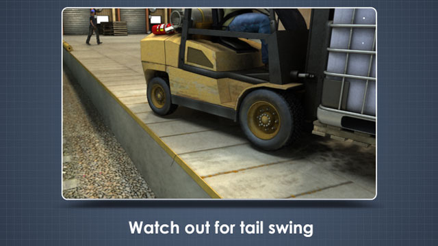 Tail swing is when you place your rear wheels close to or over the edge of a loading dock.