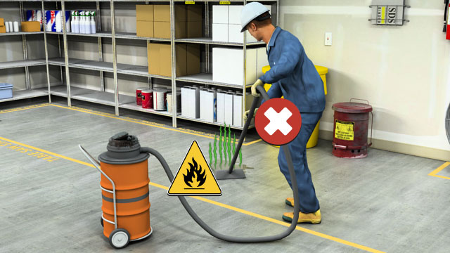 "Never use a conventional ""wet vac"" or vacuum cleaner on a volatile liquid spill. If the vapors of the solvent are flammable, there is an excellent chance that sparks in the vacuum motor will cause a fire or explosion."