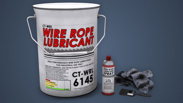 Never lubricate rope using any lubricant that might corrode or damage rope.