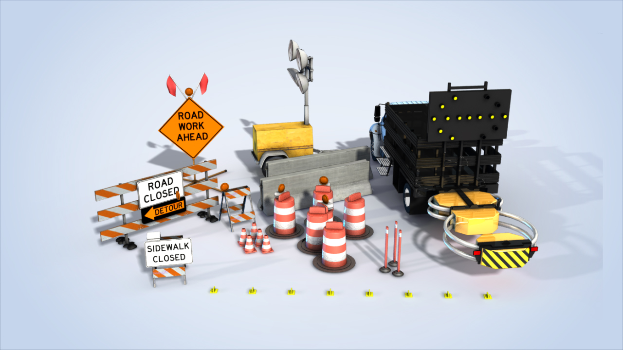 Areas of work or construction are typically marked by signs, traffic control devices, barriers, pavement markings, and/or work vehicles.