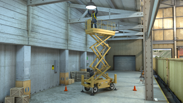 Scissor lift in warehouse with guy fixing light