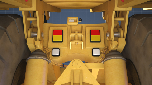 Equipment can have built in blocking features. A haul truck bed raised by hydraulics is shown pinned securely to the chassis of the truck.