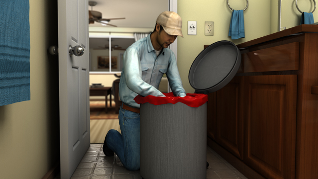 Never reach directly into a trash receptacle. Remove trash by pulling the liner by the top edges, or by dumping the container.