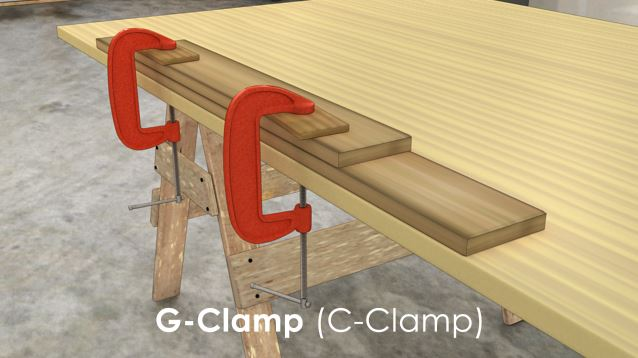 A G-clamp (C-clamp) is traditionally used to clamp a work piece to a work surface, or two parts of a work piece together.