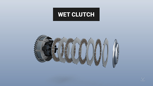 The oil in wet clutches reduces friction, so most wet clutches have multiple discs.
