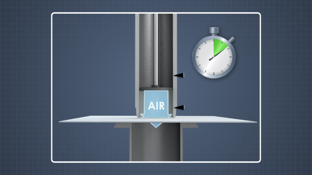 Porosity can be measured by timing how long it takes a fixed volume of air at a controlled pressure to pass through a defined area of the sheet.
