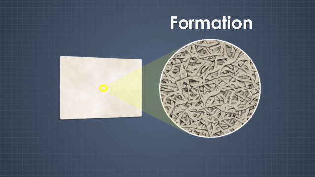 A sheet with a uniform distribution of fibers has good formation.