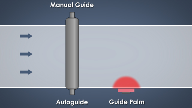 The guide palm, or guide paddle, continuously contacts one edge of the fabric to sense its position