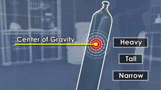 illustrating the center of gravity of a compressed gas cylinder