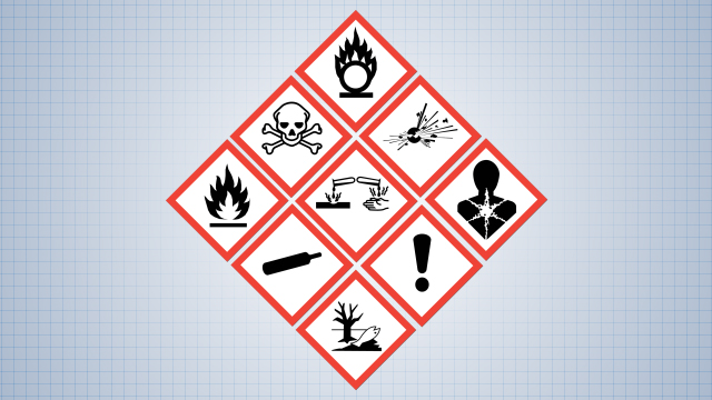 All chemical hazards can be represented by one of nine standard GHS pictograms, or symbols, on hazardous material labels.