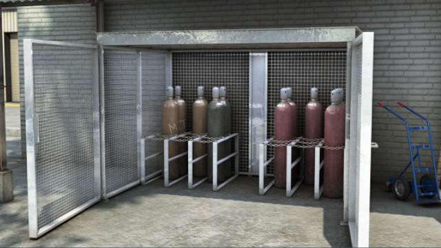 Compressed gas cylinders should be stored upright and secured at all times to prevent tipping.
