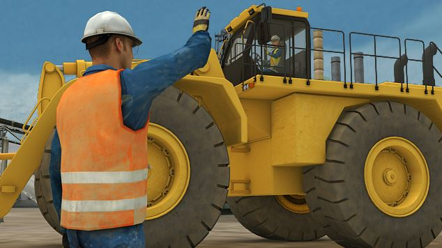 Never maneuver heavy equipment so that a person is between the equipment and a wall or other fixed object.