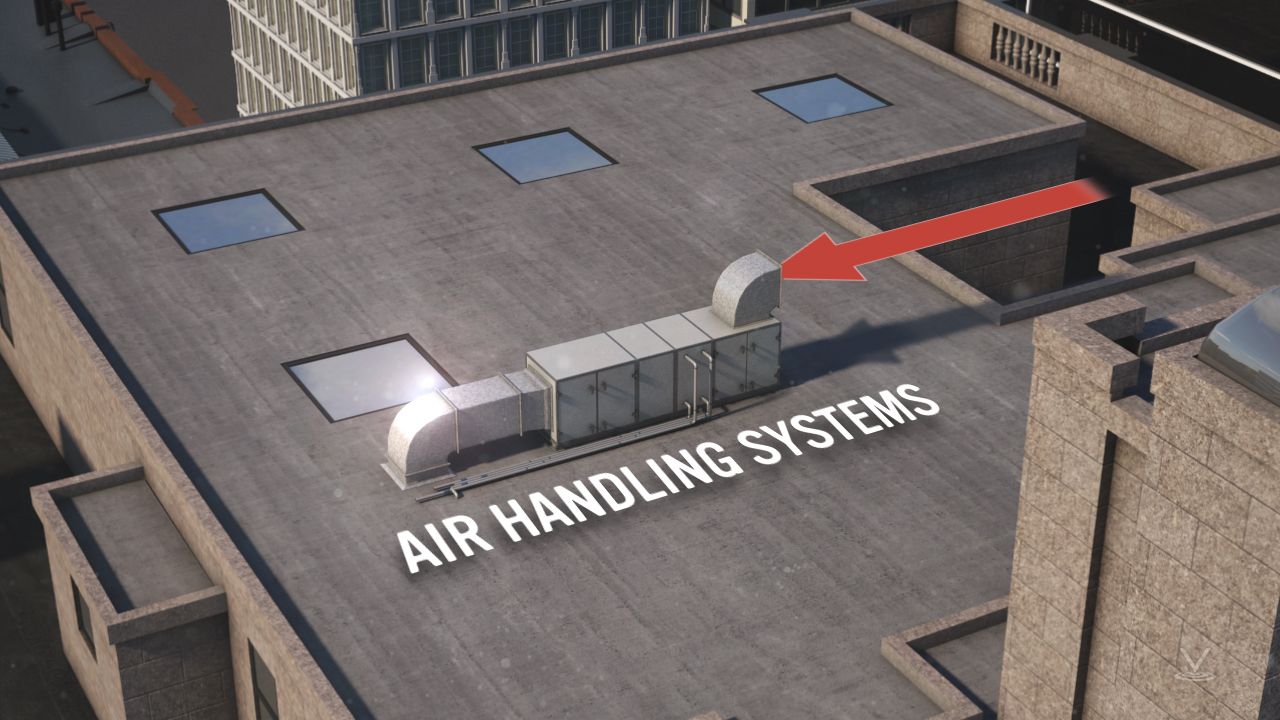 Rooftop equipment, air intake, of an air handling system.