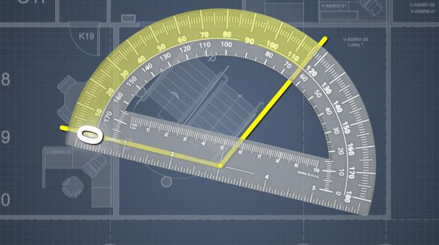 Typically angles are measured by a device called a protractor