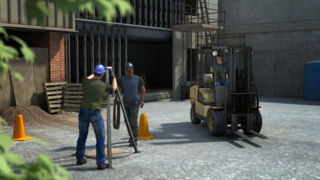 forklift driving near workers