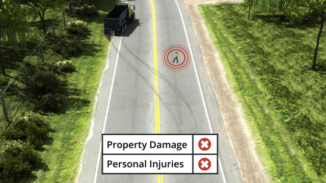 A truck swerving to avoid a pedestrian in a road is considered a near miss. No harm or damage is done, but there was a potential for disaster.