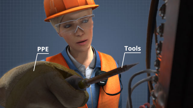PPE and non-conductive tools work together to prevent electricity from flowing into the body of a worker.