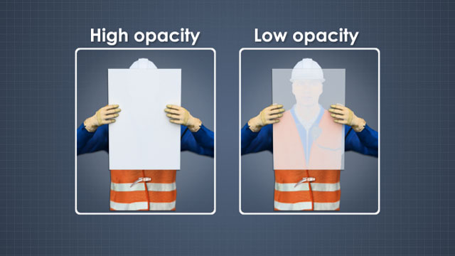 Opacity measures the ability of paper to block or mask objects behind the sheet.