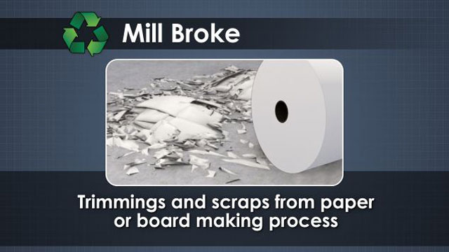 Mill broke includes trimmings, scraps and off spec material which is produced and reused within the mill.
