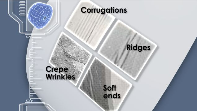 Roll defects, such as corrugations, crepe wrinkles, ridges, and soft ends, are undesirable