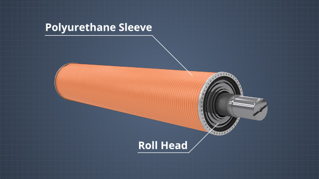 A polyurethane belt or sleeve is attached to and rotated by the roll heads
