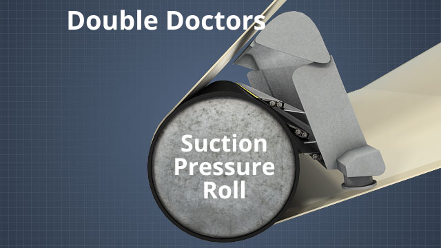Double doctors are often used on suction pressure rolls to increase post pressure roll consistency (PPRC), improve the moisture profile, and keep the fabric clean