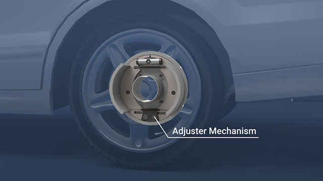 Most drum brakes have an adjuster mechanism which automatically compensates for shoe wear by adjusting the shoes outward.