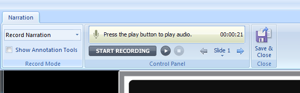 The Narration Recording Controls in Articulate Presenter