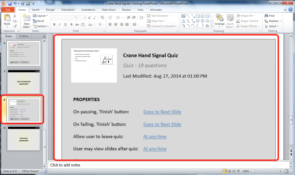 Your Quiz Will Appear as a Single Slide in Your PowerPoint