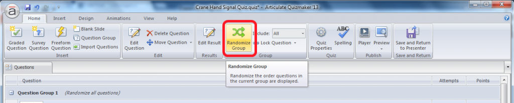 Click the Randomize Group Button to Have Your Questions Appear In Random Order