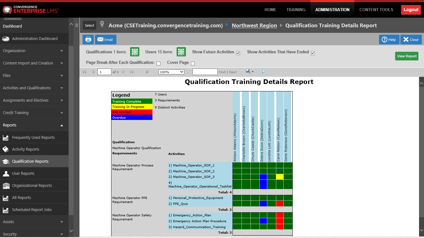 Training Completion Record Report in an LMS Including Instructor-led Training Image