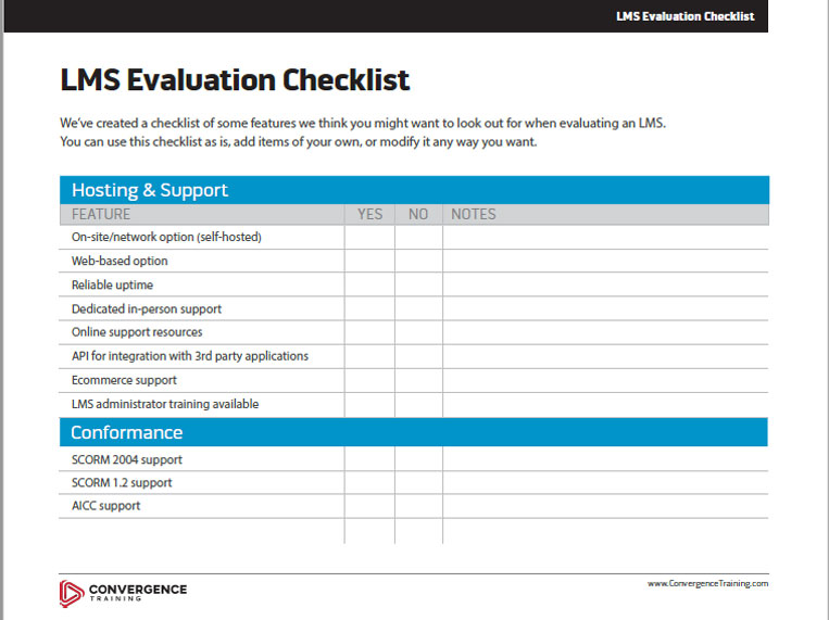 Learning Management System (LMS) Evaluation Checklist Btn