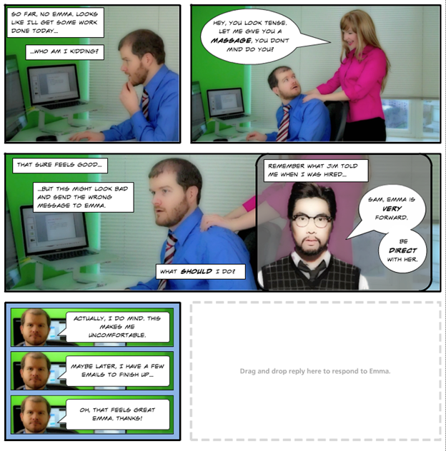 Comic Books and eLearning example from Broken Coworker by Anna Sabramowicz
