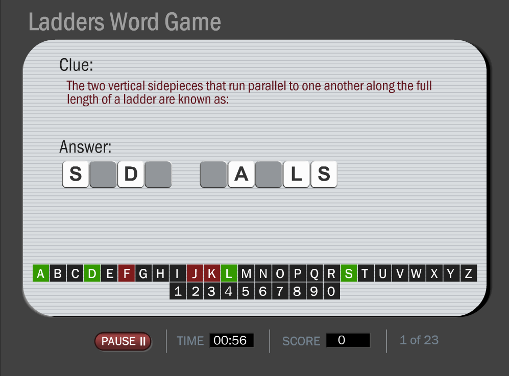 Ladder Safety Word Game Image