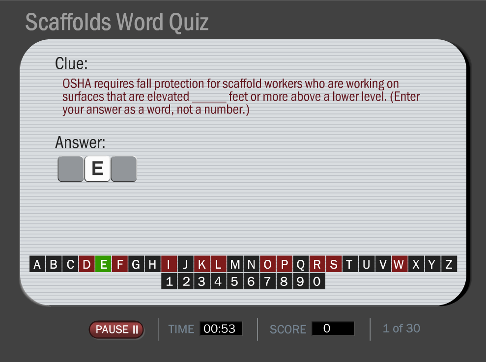 Fun Scaffolds Training Game--Online and Interactive