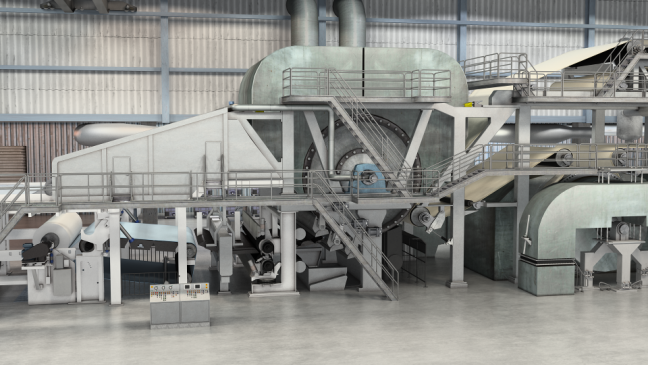 Tissue Manufacturing Machine 3D Model Yankee Dryer and Reel