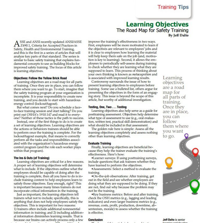Learning objectives for safety training image