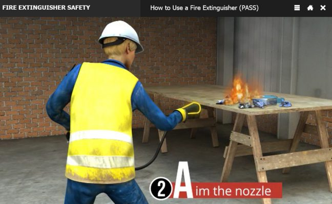 PASS Fire Extinguisher Method Aim the Nozzle Image